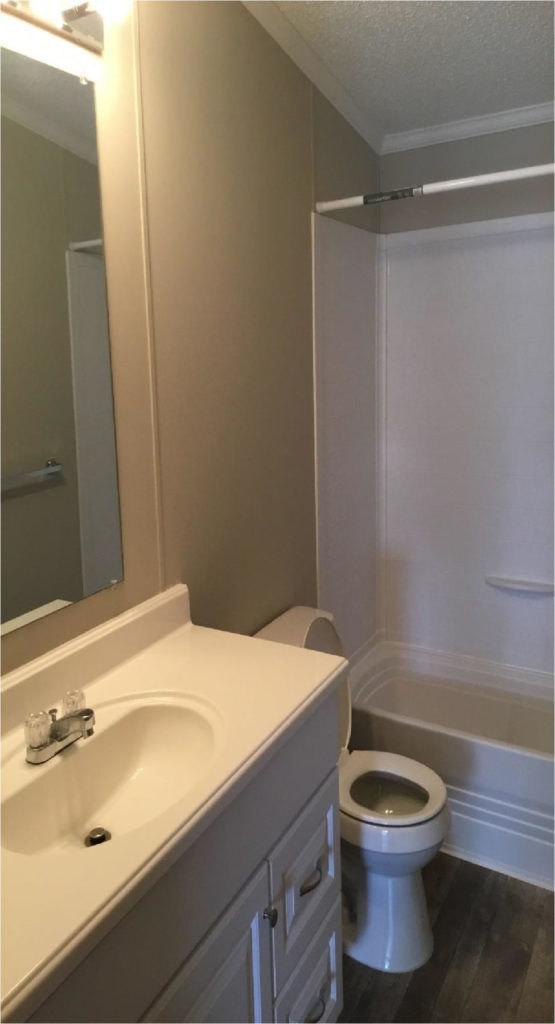 mobile home bathroom after refurbishment and repair