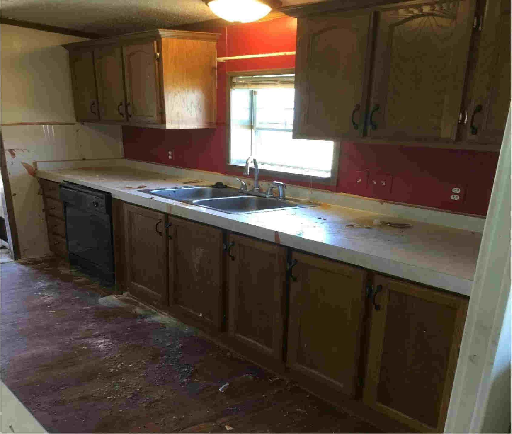 mobile home kitchen before refurbishment and repair